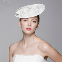 Église De Chapeau De Dentelle Pas Cher-Vintage New Church Derby Vintage Wedding Bridal Fascinator White Pillbox Lace Flower Hat Cap Headband Head Crown Tiare