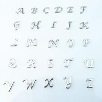 yüzen cam takılar toptan satış-Yüzer charms 130 adet / grup Toptan yüksek kalite mix kristal mektubu charms diy yaşayan için A-Z alfabe yüzer locket charms cam madalyon