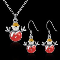 Wholesale New Model Necklace - Christmas Snowman Necklace and Earrings Wholesale Color creative explosion models eardrop 2017 new hot selling