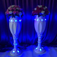Wholesale White Vase Sets - New Styles White Plastic Vase Roman Column Road Lead For Wedding Welcome Area Runner Aisle Decoration Supplies