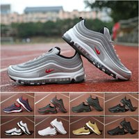 [With Box] 20017 New Classic 97 OG QS Running Shoes Homens Gold Black White Silver Bullet Sports Trainer Air Cushion Surface Respirável Shoes