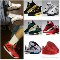 Wholesale Rubber Cement Plastic - Free shipping High Quality 4 Man Basketball Shoes White Cement Fire Red Fear Black Cat Mens Women Outdoor Sports Shoes