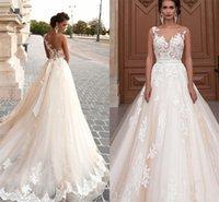 faixa de noiva mais tamanho venda por atacado-Plus size applique ilusão voltar país vestido para casamento custom made champagne lace vestidos de noiva vestidos de noiva com faixa
