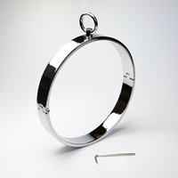 Wholesale Steel Ring Collar Bdsm - Newest Unisex Stainless Steel Neck Ring Collar Restraint Chastity Pins Locking Sex Games BDSM Toy 1pc