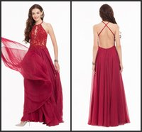 Günstige Preis Red Applique Sequin Prom Kleider Lange Brautjungfer Kleid Elegant Backless Sexy Design Boden Länge Chiffon Kleid Ärmellos