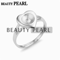 Wholesale pearl heart band - 5 Pieces Heart Design Pearl Ring Mount 925 Sterling Silver Band Rings Blank for DIY Making