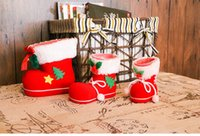 Wholesale Decorations For Shoes Babies - New Arrival Christmas Gift Christmas Decoration Cute kids Baby Bags New Year Christmas Boots Candy Box For Kids Shoes