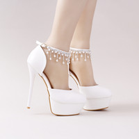 Wholesale Lace Wedding Flats For Bride - White pearl crystal wristbands bride shoes high with fine with hollow bag and dress shoes for women's shoes sandals new wedding shoes