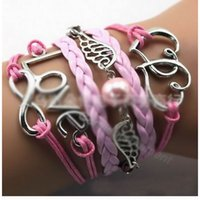 Wholesale Retro Heart Wing Bracelet - Wholesale-Hot Wholesale Fashion Retro LOVE Heart Multilayer Leather Bracelet, Angel Wings Bracelets & Bangles Jewelry CCB331
