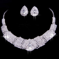 Wholesale Two Piece Rings Fashion - 2016 Luxury Rhinestone Bridal Accessories Wedding Jewellery Sets Necklace Earrings Accessories Two Pieces Cheap Fashion Style Hot