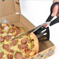 pá de várias funções venda por atacado-Aço inoxidável Pizza Tesoura Multi-função Pá Pizza Tesoura Pizza Cortador de Cebola Verde Cortada 2 Cores YW100