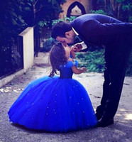 ingrosso abiti blu per matrimoni-Royal Blue Cenerentola Flower Girl Abiti per matrimoni Al largo della spalla Perline Ball Gown Girls Pageant Dress Custom Made Kids Comunione Dress