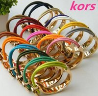 Wholesale Gold Plated 2pcs - High quality (1 lot 2pcs) New Beautiful 10 colors womens bracelets, Famous brand luxury letter M bracelets bangles Fine Jewelry for gift