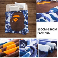 Wholesale Thickening Coral Fleece - Tide brand blue ape man spring and summer blanket thickening flannel blanket office air conditioning casual blanket
