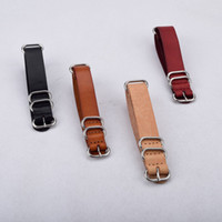 Wholesale Nato Leather Strap - NATO Genuine Leather Watch Strap Black Beige Brown 20mm 22mm 18mm Watch Belt Stock Quality Men Women Watches Band Brand