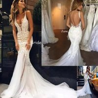 2018 Pallas Couture Beach Mermaid Abito Da Sposa Glamour Backless Sheer Profondo Scollo AV Fishtail Abiti Da Sposa Arabo di Alta Qualità Vestido De Novia