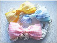 Wholesale School Uniform Pink - 15% off! 2016 new fashion 3inch Handmade Baby Girl bow hair clips Tina School Uniform Gingham hair Bow bobble alligator clip 9 colors 30pcs