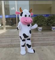fantasia de vaca venda por atacado-Venda imperdível!! PROFISSIONAL FAZENDA VACA LEITEIRA Traje Da Mascote dos desenhos animados Fancy Dress Frete Grátis