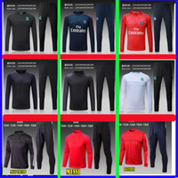 Wholesale Boy S Sweaters - Paris KIDS BOYS soccer 2017 psg Real madrid man utd chandal football tracksuit messi Children's KIDS training suit Sweater pants Sportsw