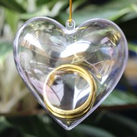 Wholesale Clear Plastic Christmas Trees - New arrival Heart Shaped Clear Plastic candy Jewelry Box Small Part Storage Case Xmas Tree Ornament Decorations Gift Hanging box