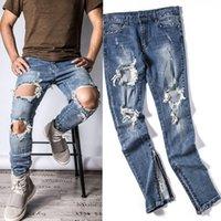 Wholesale Plus Size Harem - Wholesale-Mens Designer RedLine Rockstar Justin Bieber Kanye WEST Origina Ripped Skinny Denim Jeans for High Quality god of Fear Men