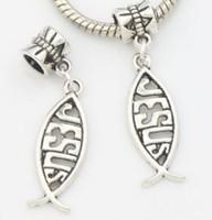 Wholesale Beads Jesus Bracelets - 100Pcs Tibetan Silver fish Jesus Charms pendant Dangle Beads For Jewelry Making Bracelet