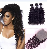 Wholesale Dhl Free Shipping Hair - 7A Brazilian Deep Wave Hair Bundles with Closure Free Middle 3 Part Double Weft Human Hair Extensions Dyeable Human Hair Weave DHL Shipping