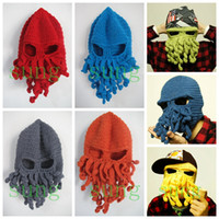 Wholesale Knitting Octopus - Fashion octopus Knitted hat hip hop style Solid winter warm caps funny octopus wool cap for party Halloween Day