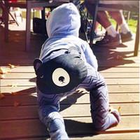 bebek tavşan pantolonu toptan satış-2016 Yeni INS Bebek Karikatür Ayı Tavşan Pantolon Sonbahar Bahar sevimli Hayvan Çizgili Erkek Kız Uzun Pantolon Harem pantolon Yürüyor PP Pantolon