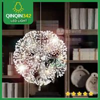 colgante de cristal k9 luz araña al por mayor-Droplight 47 CM Lujo Europeo Creativo Dandelion LED Crystal Candelabros Moderno Minimalista K9 Crystal Colgante Luz Luces de la Sala