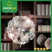 Wholesale minimalist k9 crystal pendant online - Droplight CM European Luxury Creative Dandelion LED Crystal Chandeliers Modern Minimalist K9 Crystal Pendant Light Living Room Lights