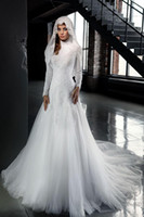 Wholesale Simple Wedding Dress Muslim Woman - Modest High Neck Muslim Wedding Dresses 2016 Long Sleeves Lace Appliques Arabic Plus Size Islamic Women Bridal Gowns Custom Made