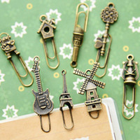 Wholesale 16 Vintage Metal Bookmarks Paper clip Book marker page holder stationery office School supplies marcador de livro