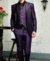 Wholesale Classic Prom Suits - High Quality One Button Purple Groom Tuxedos Shawl Lapel Groomsmen Mens Wedding Dresses Prom Suits (Jacket+Pants+Vest+Tie) H212