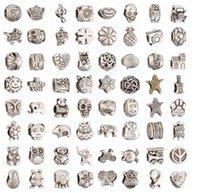 european tibetan style beads achat en gros de-Mélanger 64 Styles Grand Trou Perles En Vrac charme Pour DIY Bijoux Bracelet Pour Européenne BraceletNecklace Rétro Argent Tibétain Perles pour DIY