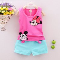 Wholesale Mikey Clothes - Toddler Girls&Boys Clothing Sets Kids Minnie Vest + Shorts 2 Pics Suits 2016 New Summer Children Mikey Clothing Sets Baby 12M-5T