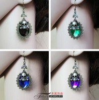 Wholesale Cheap Halloween Skeletons - NEW Halloween Party Skull Designer Earings For Women Girls 5 Color Crystal Fashion Skeleton Charm Dangle Chandelier cheap china Jewellry