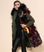 Fur cashmere coat suppliers - 2015 High Quality parka jacket Army green sexy real fox liner coat China fur hood jacket Suppliers