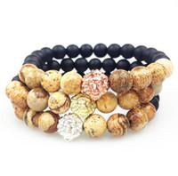perlen rosa armband großhandel-SN0352 Männer Perlen Armband Jasper Stein Armband mit Löwenkopf Gold Rose Gold Silber überzogene Matte Black Onyx Perlen Armbänder