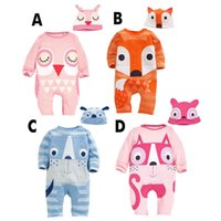 Wholesale Halloween Owl Hat - Baby boy girl 2016 fox INS hat rompers suit 4 design Children ins cartoon fox owl cotton long sleeve rompers suits B001
