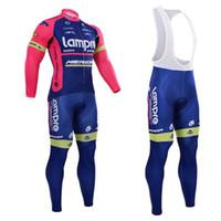 Wholesale Merida Pro Cycling - Pro Team Lampre Merida Cycling Jersey Set Long Sleeve Jersey and Cycling Pants Set Outdoor Bike Clothing