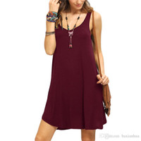 Wholesale Shift Dress Wholesale - Woman Swing Tank Dresses Summer Style 2016 New Arrival Casual Sleeveless Crew Neck Shift Short Dress free shipping