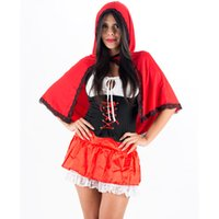Wholesale sexy little red riding - Charming New Sexy Little Red Riding Hood Costume Short Sleeve Top Red Mini Skirt and Hooded Cloak Halloween Outfits W208957A