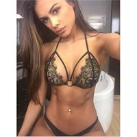 Wholesale Mini G String Tanga - Hot sale Black Micro Swimsuits Sexy Halter Mini Bra Lace Designer G String Two Piece Brazilian Bikini Tanga Set