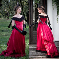 Wholesale Sexy Royal Ball Costumes - Halloween Costumes Fancy Prom Dress Off Shoulder Pincess Cosplay Costume BowKnot Sleeveless Custom Made Victorian Ball Gown