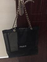 yarn bag achat en gros de-New lady fil noir net sac à provisions transparent or chaîne en argent sac à bandoulière cosmétiques organisateur voyage sac de plage