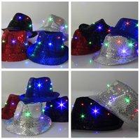 Wholesale Black Sequin Hat Fedora - Flashing Light Up Led Fedora Trilby Sequins Caps Unisex Fancy Dress Dance Party Jazz Hat Festival Carnival Costume cowboy hats 5 colors