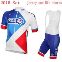 Wholesale Team Fdj - 2016 PRO team FDJ cycling jersey men's short-sleeve summer Ropa ciclismo Quick-Dry Racing Bicycle MTB cycling cloth gel pad bib shorts