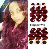 Wholesale red wine hair extension online - Burgundy Wine Red J Brazilian Body Wave Virgin Human Hair Weave Bundles Peruvian Malaysian Indian Cambodian Mongolian Hair Extensions