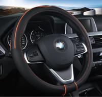 Wholesale new leather steering wheel cover - Free Shipping Car steering wheel cover new four seasons car anti slip set of leather steering wheel set 36cm 38cm 40cm 42cm